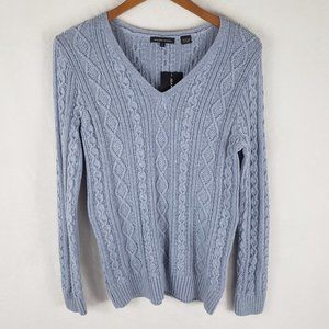 NWT JEANNE PIERRE V-neck cable knit sweater S